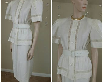vintage 80s ivory suit size 8 by Albert Nipon