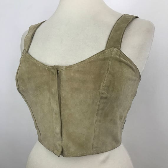 Suede crop top designer vintage Armarni Western style belly top cream real leather pin up cowgirl burlesque 80s 90s look 1990s