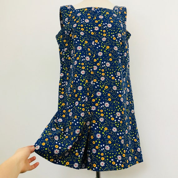 Vintage playsuit 60s romper 70s jumpsuit cotton twill flower power mini UK 12 handmade daisy all in one 1970s