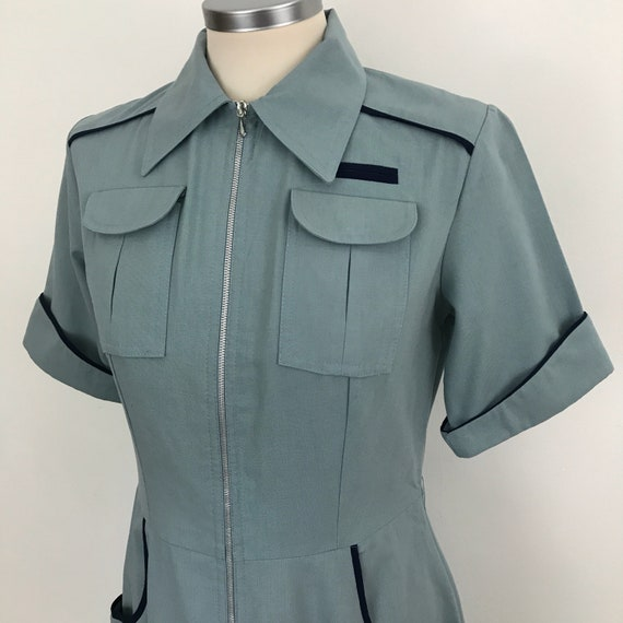 1940s style dress grey blue military vintage 70s does 40s dress shirtwaister UK 10 12 utility look day dress zip front swing lindy hop