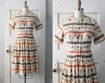Vintage 1950s Equestrian Print Dress / 50s Linen Novelty Print Dress / Bridle Path Dress