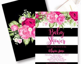 Girl Floral Chic Baby Shower Invitations, Blue Rose Baby Shower Invitation, Pink and Black Stripe Invite