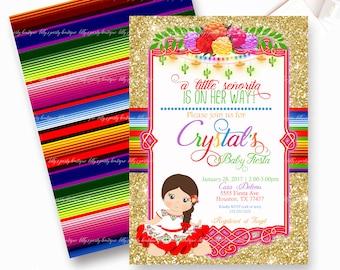 Fiesta, Baby Shower Fiesta Mexican Baby Fiesta Invite, Mexican Baby Shower Invite- YOU PRINT