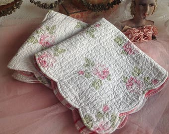 """Beautiful vintage large 26""""x26"""" machine quilted pink rose covered shabby cottage shams"""