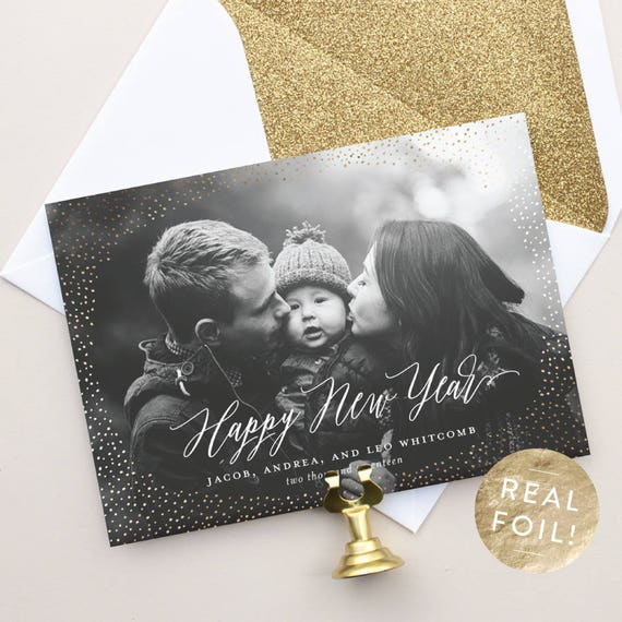 New Year Photo Card with Gold Foil, Personalized New Years Cards for Photo, Real Foil Pressed Cards for 2018 New Year | Shimmer