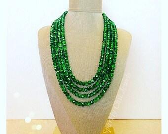 Sparkly Metallic Green Statement Necklace