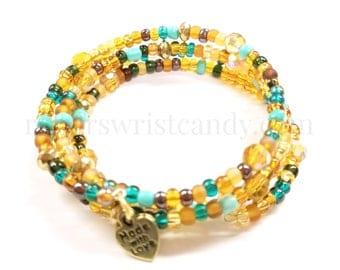 Memory Wire Bracelet, Beaded Coil Wrap Bracelet, Coil Beaded Bracelet Wrap, Bracelet Stack, Handmade, Custom, Beaded Jewelry