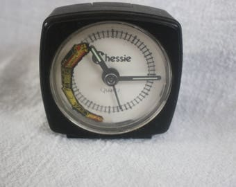 """Vintage """"Chessie"""" Clock with Railroad Track on Clock Face with Yellow Train that Moves Each Second"""