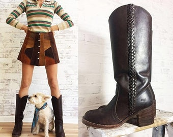 JUNE SALE Vintage 1970's Braided FRYE Chocolate Brown Leather Western Campus Knee High Boho Boots    Ladies Size 7.5 To 8