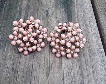 60's Pink and Rhinestone Daisy Cluster Earrings