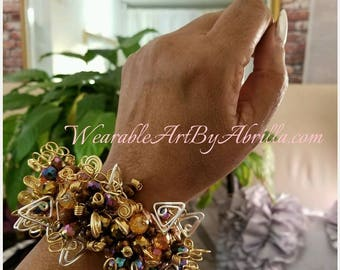 Beautiful Statement Piece .. wire wrapped ... wearable art ... bracelet ... charm bracelet ... Boho ... Beaded bracelet