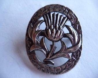 Vintage Signed MASJ Silvertone Small Scottish Thistle Brooch/Pin