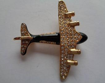 Vintage Unsigned Goldtone/Black/Rhinestone  Aeroplane Brooch/Pin