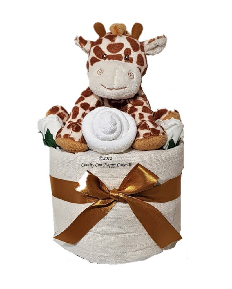 Neutral Unisex Baby Gift Mini Nappy Cake With Giraffe And
