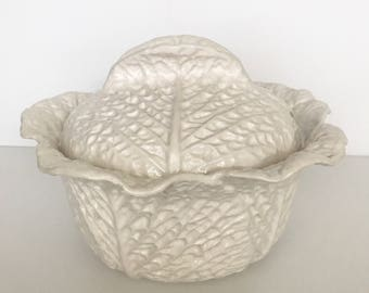 Vintage Large White Cabbage Soup Tureen, Made in Portugal