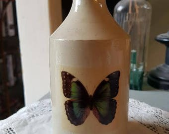 Vintage Victorian pot with butterfly decal