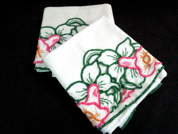 Embroidered Pillowcases, Purple and Green on Soft White Cotton, Vintage Pillowcases