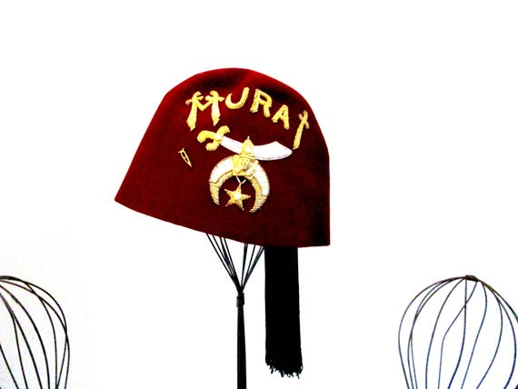 Freemason Fez Hat, Shriners Hat with Tassel, Embroidered Insignia, Murat Hat, Burgundy Hat, Size 7 1/8