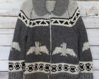 Vintage Wool Knit Cowichan Siwash Sweater Jacket with Eagle Design