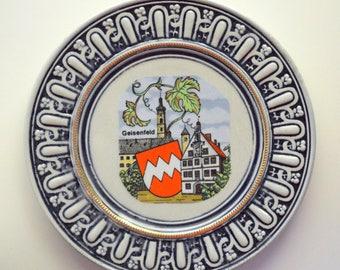 Geisenfeld West Germany Souvenir Plate Original Gerzit Cobalt Stoneware Pottery (B)