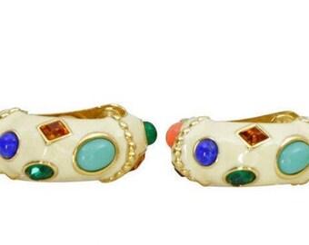 Kenneth Jay Lane White Enamel and Stone Earrings - Clip On - S2322
