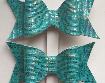 Sparkly turquoise sea inspired hair clips