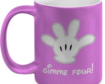 Gimme Four! Mickey Mouse Glove Gift Mug Coffee Cup Disney Wave Fun