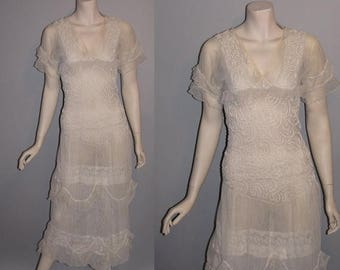 ON SALE Vintage 1910s Down the Aisle Edwardian Ornate Tulle Gown Sheer Womans Wedding Dress - XS