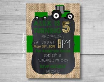 DIY Birthday Party Invitation, tractor themed birthday, green tractor birthday, boy birthday party, child birthday party