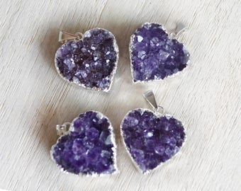 Amethyst Heart Pendant, Electroplated in silver
