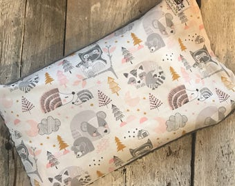 Baby buckwheat scales pillow, forest animals, pink/mustard/grey
