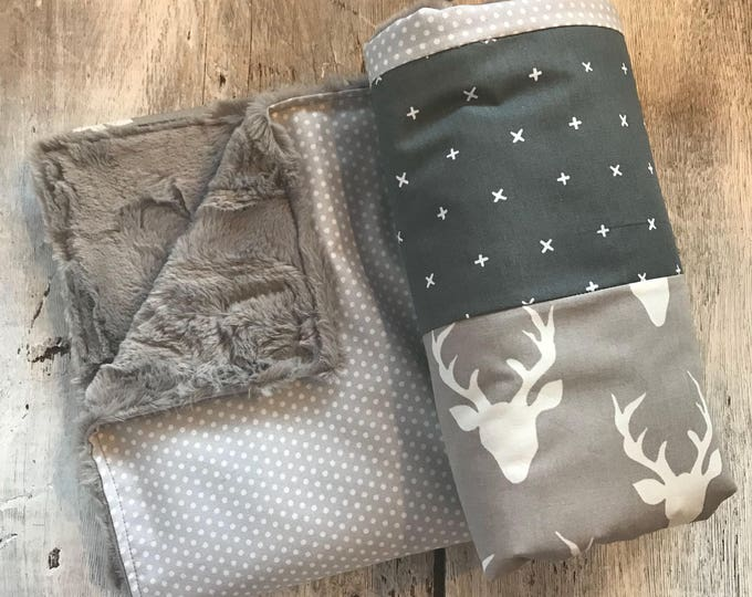 Featured listing image: Baby crib blanket ,minky blanket, handmade quilt, quilted crib blanket, deers, grey and beige