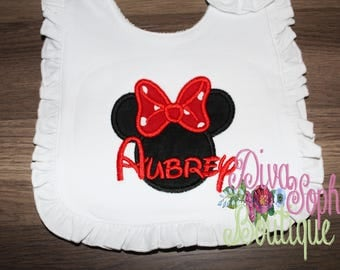 Minnie Mouse Ruffle Bib