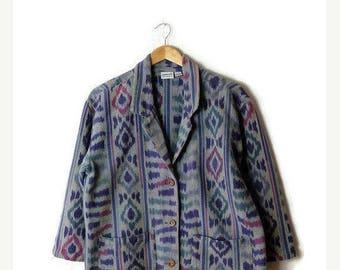 ON SALE Vintage Oversized Guatemala  Ethnic pattern Stripe Cotton Blazer /Jacket from 90's*