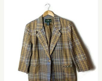 ON SALE Vintage Beige x Blue Checked/Plaid Cotton Tailored Jacket /Blazer/Hunt Club*