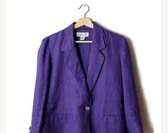 ON SALE Vintage Plain Purple pure Linen Blazer Jacket  from 90's*