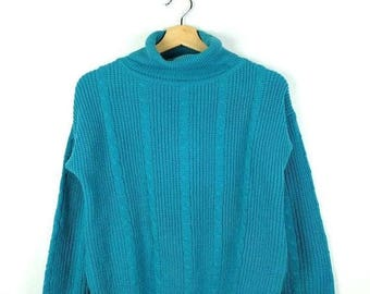 WINTER SALE 20% OFF Vintage Greenish Blue High neck /Turtle Neck Acrylic sweater form 90's*