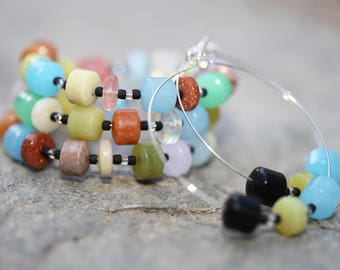 Sedona Chunky Gemstone and Seed Bead Cowgirl Beaded Adjustable Memory Wire Coil Bracelet and Hoop Earrings Jewelry Set, Southwestern Set