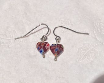 Glass heart earrings