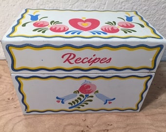 Tin floral pattern recipe box packed with recipes! - vintage from the Ohio Art company