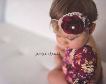 Cream Beige Burgundy headband, Baby girl burgundy flower headband, Cotton ruffle baby headband