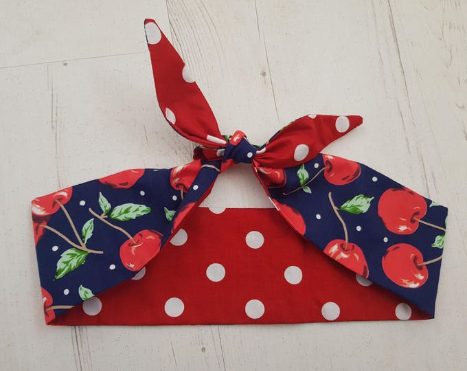 1950s Reversible Vintage Blue Cherry And Red Polka Dot Head Scarf - Burlesque Hair Tie Cherries