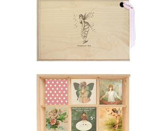 Wooden Treasure Box with Vintage Fairy engraving