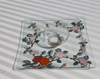 Clear Glass Chip N Dip Serving Dish / Platter / Tray  with with Pink Flowers