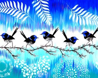 "aqua art, blue and green, painting,large wall art,large canvas painting,large paintings, big painting, of, birds, canvas, aqua, chic,36""x24"""