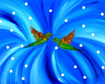 """painting, paintings, gift for wife, gifts for wife, blue painting, blue paintings, with blue, and, green, white, art, on canvas,wall,36""""x24"""""""