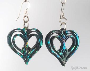 Sacred Heart Earrings — Abalone Paua Shell - Twin Flame Love
