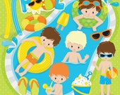 80% OFF SALE Pool party boys clipart commercial use, kids vector graphics, vacation kids digital clip art, digital images - CL861