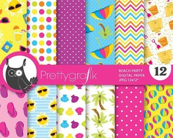 80% OFF SALE Beach party digital paper, commercial use, scrapbook papers, background - PS715