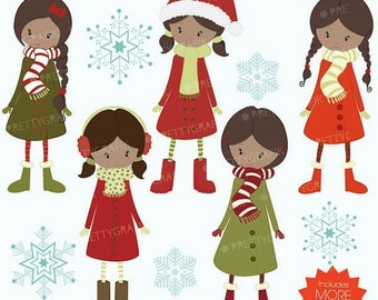 80% OFF SALE winter christmas girls clipart commercial use, vector graphics, digital clip art, digital images - CL562